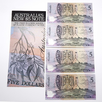 Two Pairs of Consecutively Numbered $5 Notes with Green Serial Number, AA93457018-AA93457019 and AB18456612-AB18456613