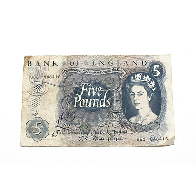 Bank of England Five Pound Note, U53 848416