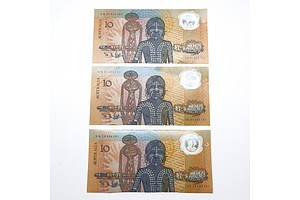 Three 1988 Australian Bicentennial Commemorative $10 Notes, AB47910792, AB31585141 and AB18386261
