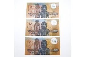 Three 1988 Australian Bicentennial Commemorative $10 Notes, AB47910792, AB31585141 and AB18386261