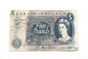 Bank of England Five Pound Note, U53 848416