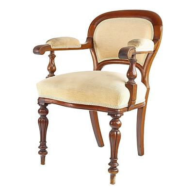 Victorian Mahogany Armchair with Reeded Legs, Circa 1880