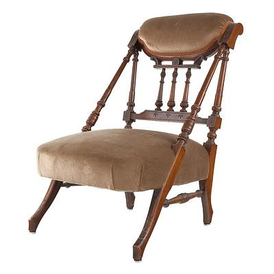 Victorian Mahogany Low Chair in the Aesthetic Movement Style Circa 1890
