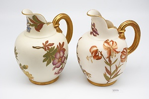 Two Late Victorian Royal Worcester Glazed Ceramic Jugs with Puce Mark, Circa 1890s
