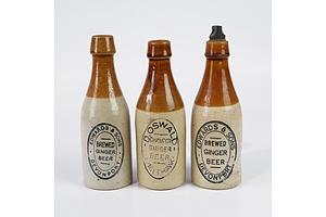Two Antique Edwards & Sons, Davenport, Clay Ginger Beer Bottles by  Bendigo Pottery and One Oswalds, Eaglehawk, Ginger Beer Bottle