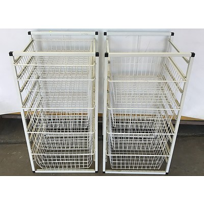 White Wire Storage Drawers -Lot Of Two