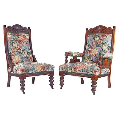 Pair of Floral Tapestry Upholstered Grandmother and Grandfather Chairs, Late 19th Century