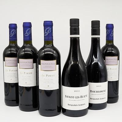 Case of 4x Le Poesie Valpolicella 750ml and 2x Benjamin Leroux 2015 Savigny-Les-Beaune Pinot Noir 750ml