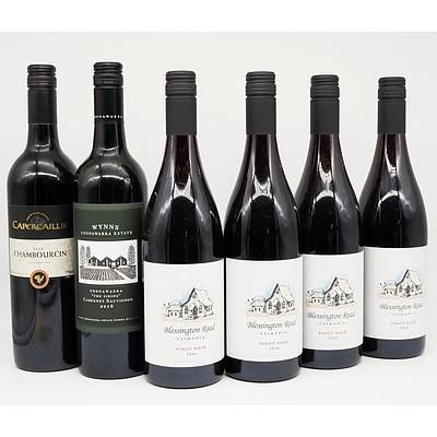 Case of 4x Blessington Road 2016 Pinot Noir 750ml, 1x Capercaillie 2015 Chambourcin 750ml and 1x Wynns The Siding 2016 Cabernet Sauvignon 750ml
