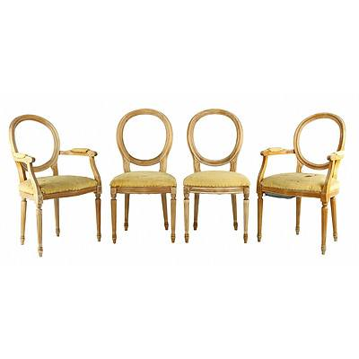 Set of Eight Louis Style Beechwood Dining Chairs, 20th Century