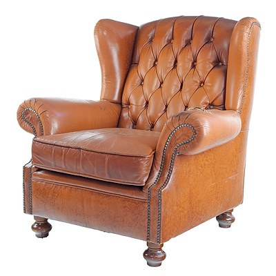 Tan Leather Upholstered Chesterfield Wingback Armchair