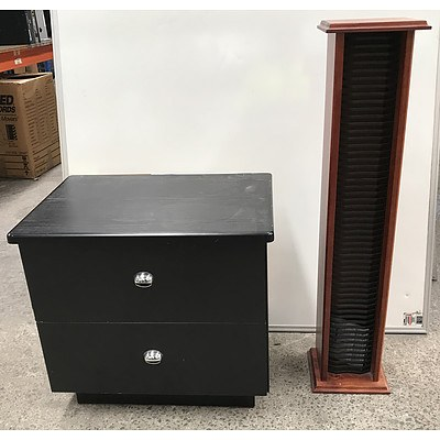 Black Veneer Side Table and Pine CD Rack