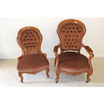Victorian Walnut Grandmother and Grandfather Chairs, Circa 1880