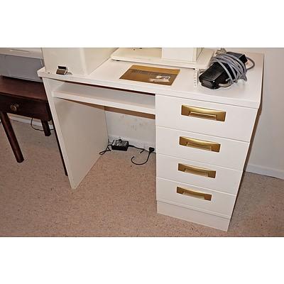 Vintage White Painted Desk with Unusual Metal Handles