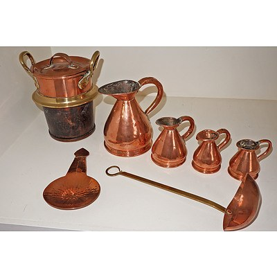 Collection of Antique and Vintage Copper Ware, Including Small Copper Warming Dish, Four Graduating Measures and Two Ladles