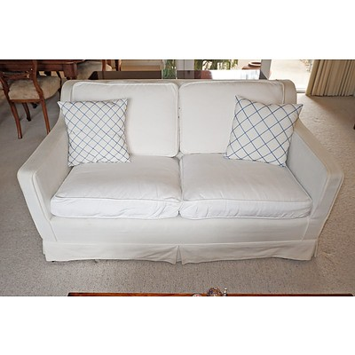 Contemporary Two Seater Sofa with Cotton Slip Cover