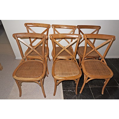 Six Contemporary Beech and Rattan Dining Chairs