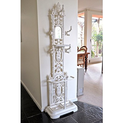 Victorian Style Cast Iron and Marble Hallstand