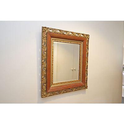 Antique Framed Bevelled Glass Mirror