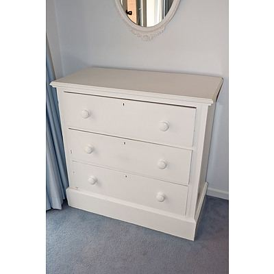 Antique White Painted Kauri Pine Chest of Drawers