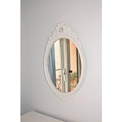 Vintage White Painted Mirror