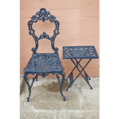 Coalbrookdale Style Cast Alloy Seat with Folding Cast Alloy Side Table
