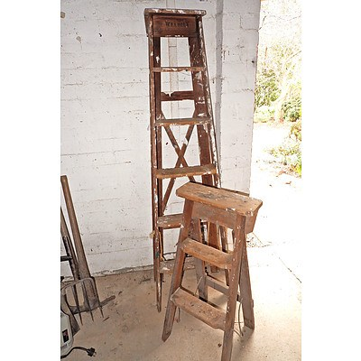Two Vintage Step Ladders for Decorators