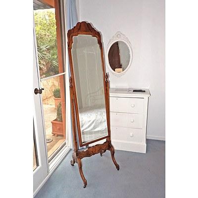 Beard Watson Masterpiece Furniture Walnut Cheval Mirror, Circa 1940s