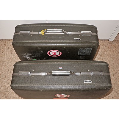 Two Vintage American Tourister Suitcases in Dark Olive Green