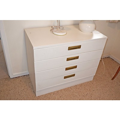 Vintage White Painted Chest of Drawers with Unusual Metal Handles