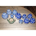 Various Contemporary Chinese Small Blue and White Ginger Jars and Green Glaze Censor