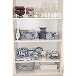 Various Blue and White Porcelain, Retro Purple Glass Footed Bowls and More