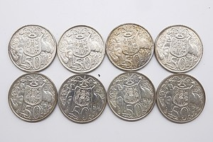 Lot of Eight Australian 1966 Round 50 Cent Piece Coins
