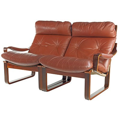 Vintage Tessa T8 Brown Leather Upholstered Modular Two Seater Designed by Fred Lowen