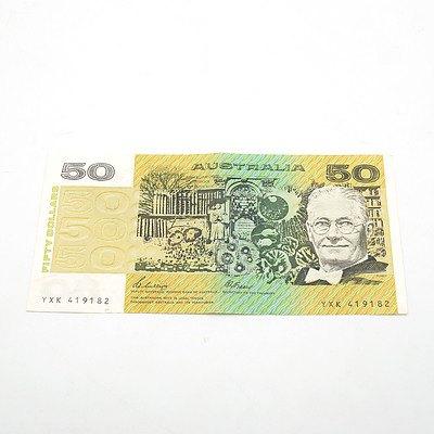Australian Phillips / Fraser $50 Note, YXK419182