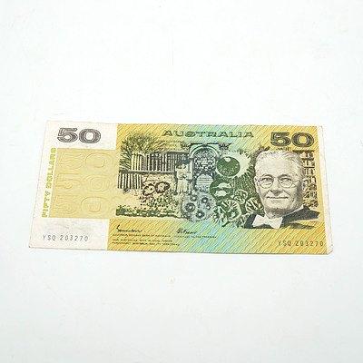 Australian Johnston / Fraser $50 Note, YSQ203270