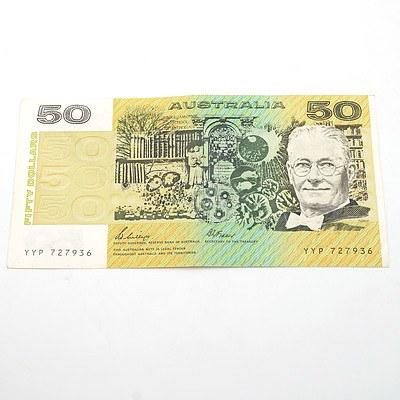 Australian Phillips / Fraser $50 Note, YYP727936