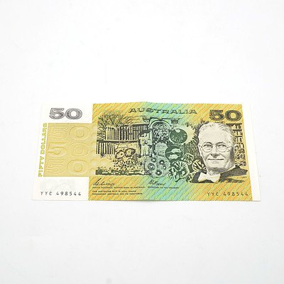 Australian Phillips / Fraser $50 Note, YYC498544