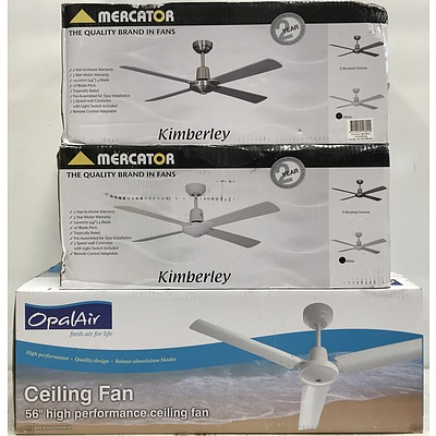 Mercator And Opalair Ceiling fans -Lot Of Three