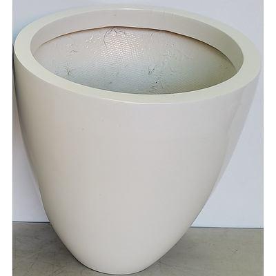 40cm Fibreglass Egg Indoor Planters(Gloss White) - Lot of Three - Brand New