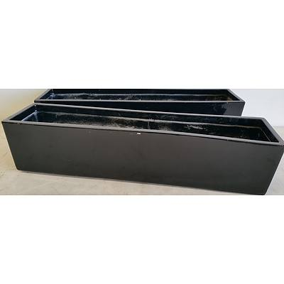 76cm Black Fiberglass Desk/Bench Top Planter Troughs - Lot of Two