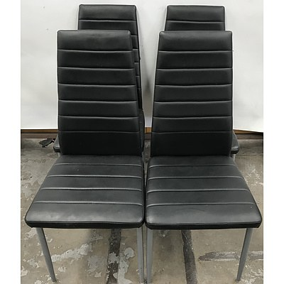 Zara Chair Black Faux Leather Dining Chairs -Set Of Four