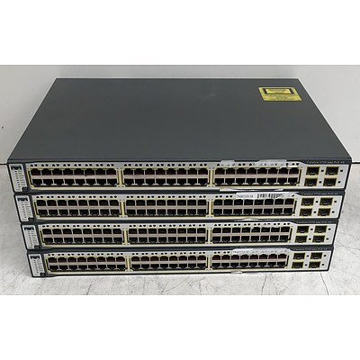 Cisco Catalyst (WS-C3750-48PS-S) 3750 Series PoE-48 48-Port Fast Ethernet Switches - Lot of Four