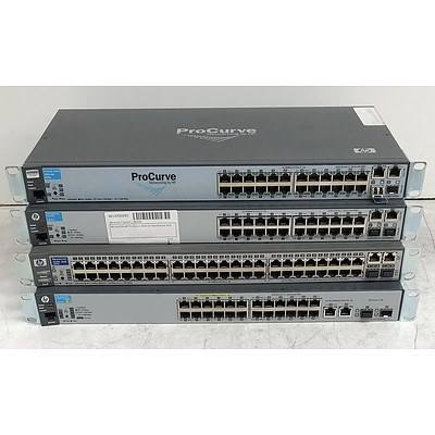 HP Assorted Ethernet Switches - Lot of Four