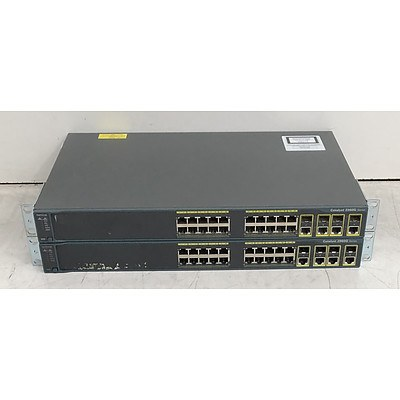 Cisco Catalyst (WS-C2960G-24TC-L) 2960G Series 24-Port Gigabit Managed Switch - Lot of Two