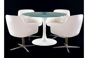 Vintage 1970s Tulip Style Dining Suite in the Manner of Robin Day and Eero Saarinen