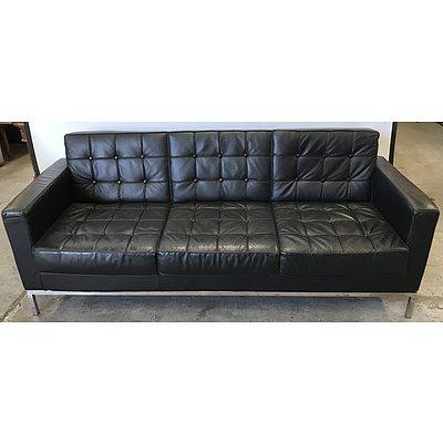 Florance Knoll Replica Black Faux Leather Sofa