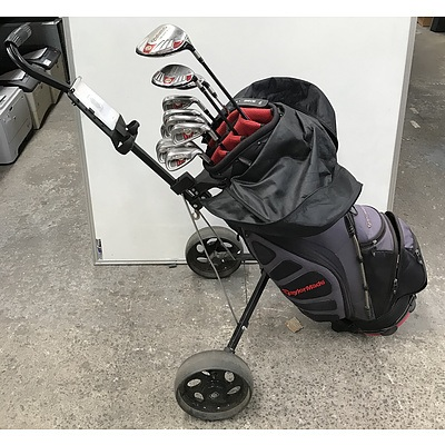 Set Of Taylormade Golf Clubs With Buggy