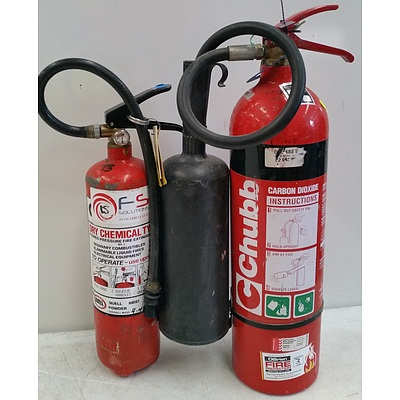 Dry Chemical and Carbon Dioxide Fire Extinguishers - Lot of Two