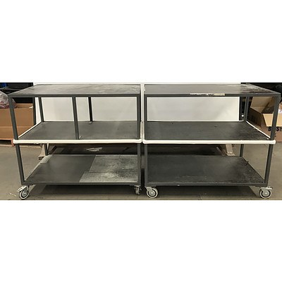 Three Tier Library Trolleys -Lot Of Two